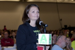 A delegate at the mic