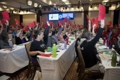 Delegates vote on a motion